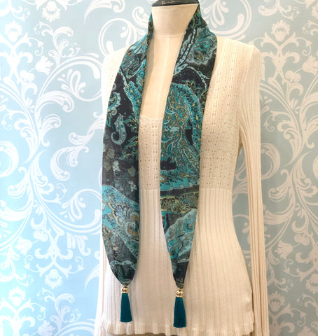 Teal Paisley Tassel Scarf 1920's Style | For the Neck