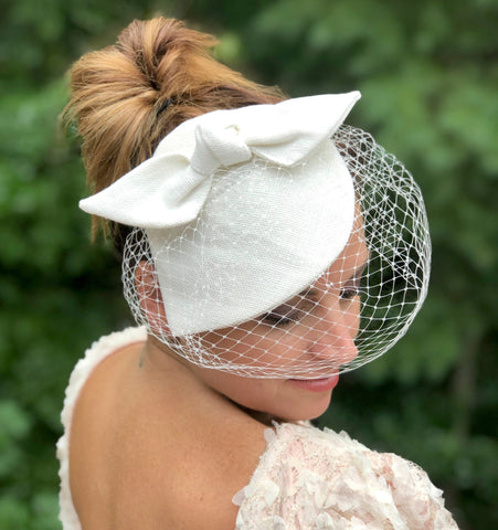 bridal fascinator handmade in antique white linen