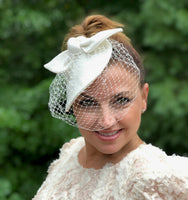 weddings and the races white linen fascinator with veil