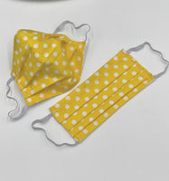 Yellow polka dot face mask with ties