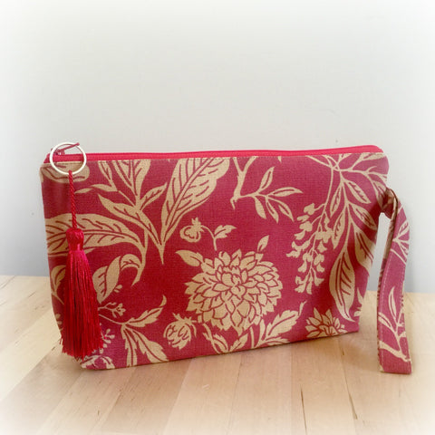 Art Deco Print Wristlet Clutch- Terra Cotta and Tan with Tassel