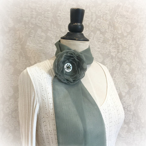 Handmade Chiffon Scarf with Removable Rose Brooch | Accessories for the Neck
