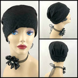 Glittering Evening Turban - Black Cocktail Hat - The Evie