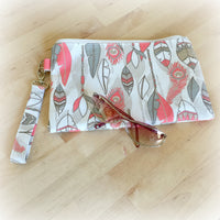 Feather Print Purse in Coral and White | Wristlets and Purses