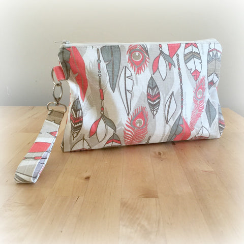 Feather Print Clutch Wristlet