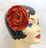 Handmade Vintage Satin Rose Brooch,  Wrist Corsage, Fascinator and Headband