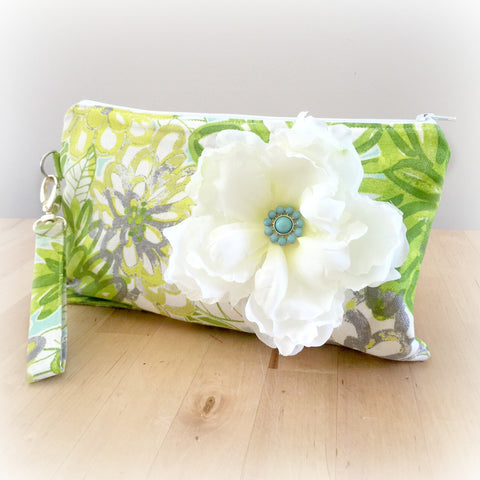 Flower Wristlet Clutch- Green Floral with Flower Brooch