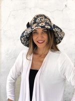 Floral Denim Blue Print Floppy Brim Hat - The Derby Cloche