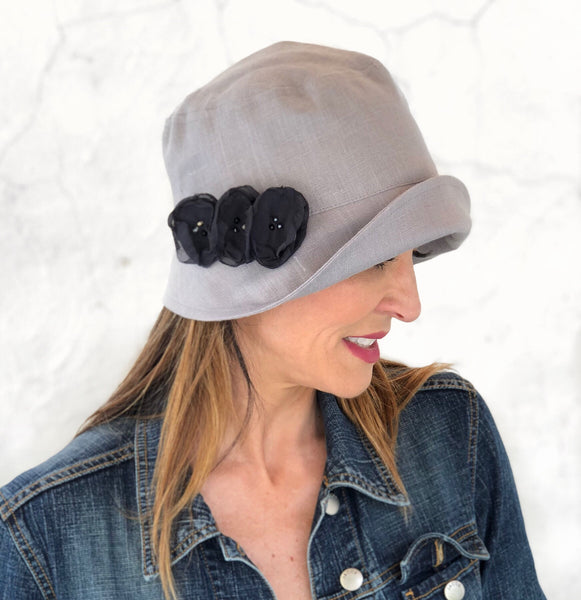 Women's Linen Summer Hat with Chiffon Flowers - The Eleanor Cloche