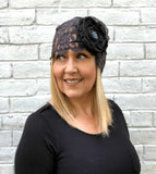 Midnight Lace Turban with Chiffon Rose Accessory | The Evie
