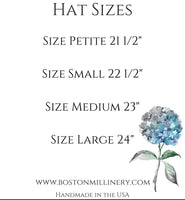 size chart for boston millinery clcohe hats