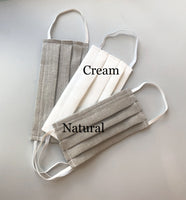 linen face masks natural and cream