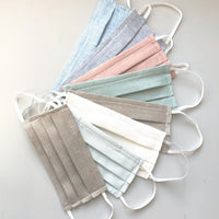 linen face masks handmade in pastel colors