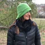 Dorothy cloche hat in Pea Green Fleece
