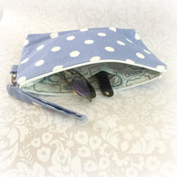 Spotty Summer Purse Periwinkle and White