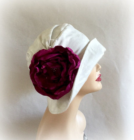 White Damask Flapper Style Cloche - The Alice