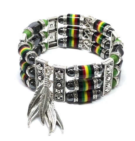 Jamaican Bracelet, Rasta Jewelry, Cuff Bracelet for Men and Women