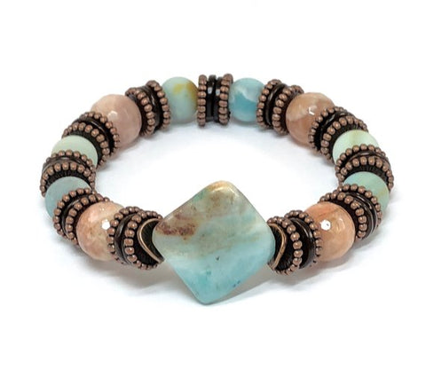 Gemstone Bracelet for Women, Amazonite Bracelet, Statement Bracelet