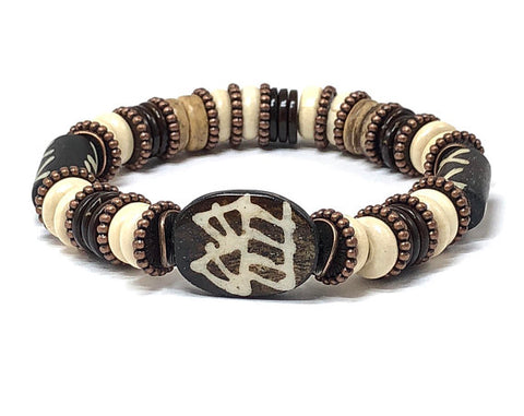 Men's Stretch Bracelet, Beaded Stretch Bracelet, Wood Bracelet for Women
