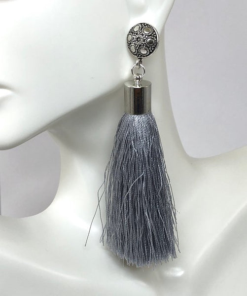 Rustic Boho Earrings, Dangle Tassel Earrings, Silver and Gray Earrings, Stocking Stuffers