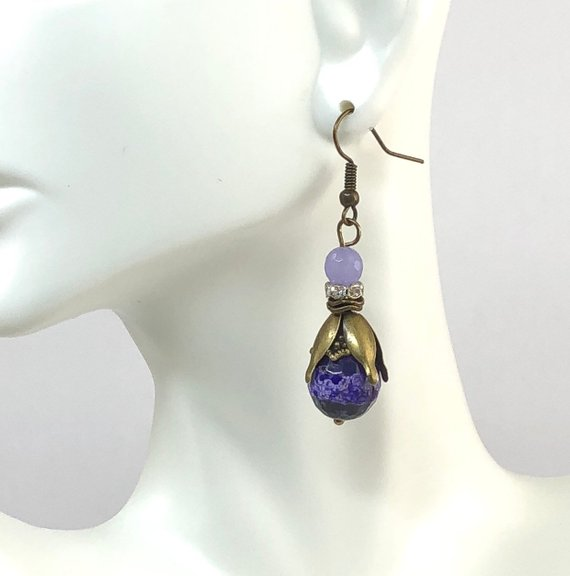Purple Dangle Earrings, Stocking Stuffers, Bronze Jewelry, Christmas Gifts for Mom