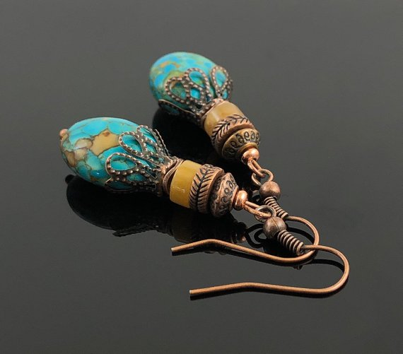Hippie Earrings, Bohemian Earrings, Turquoise Dangle Earrings, Gifts for Mom