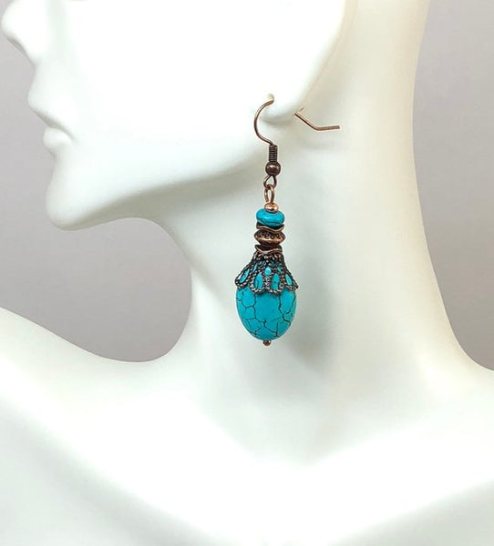 Turquoise Dangle Earrings, Hippie Earrings, Gifts for Her, Stocking Stuffers