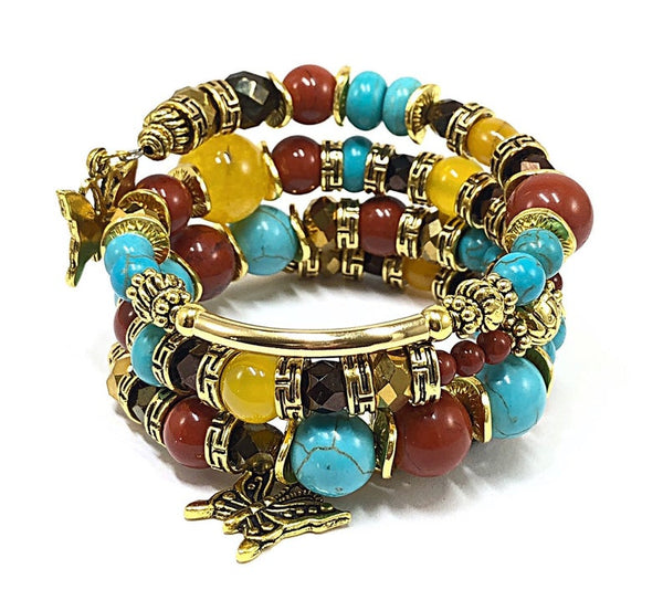 Multilayer Bracelet, Beaded Charm Bracelet, Butterfly Bracelet