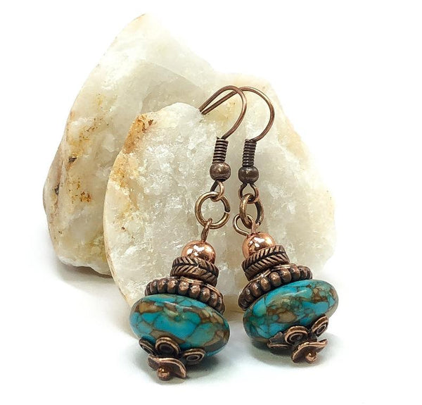 Turquoise Dangle Earrings, Hippie Earrings, Bohemian Earrings