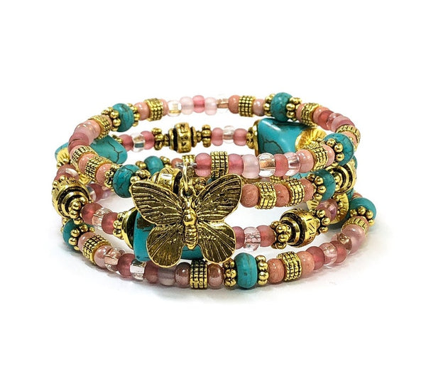Butterfly Bracelet, Memory Wire Bracelet, Pink and Blue Wrap Bracelet