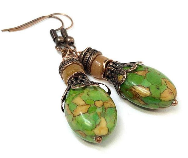Bohemian Dangle Earrings, Turquoise Earrings, Jewelry Gift Ideas
