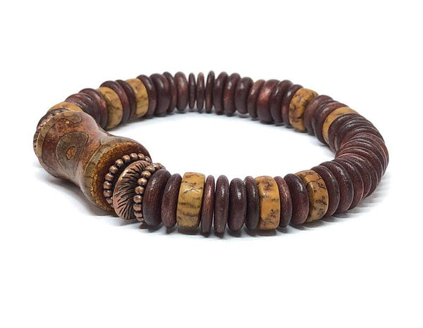 Men's Stretch Bracelet, Boyfriend Jewelry Gifts, DZI Agate, Beaded Stretch Bracelet