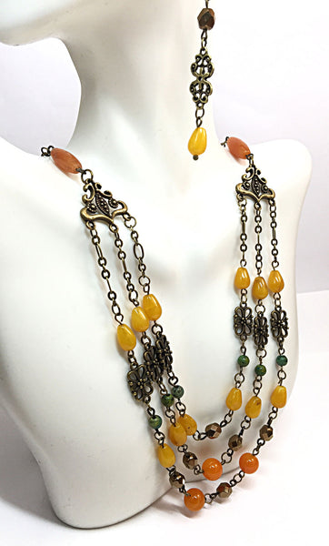 Rustic Boho Necklace, Ethnic Jewelry, Necklace & Earring Set