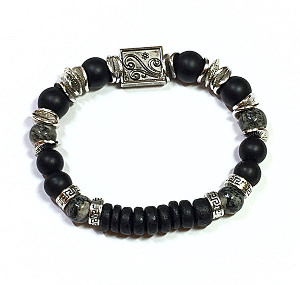 Men's Black Onyx Bracelet, Jewelry for Men, Men's Beaded Bracelet, Stretch Bracelet for Him