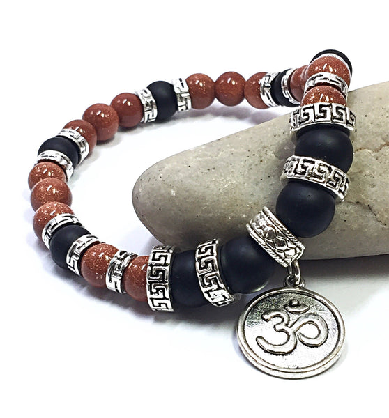 Yoga Bracelet, Red and Black Jewelry, Ohm Bracelet, Unisex Bracelet, Gift for Yogi