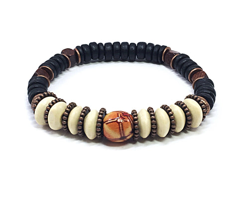 Men's Beaded Bracelet, Wood Bead Bracelet, Stretch Bracelet, Gifts for Guys, Men's Bracelet, Wooden Bead Bracelet
