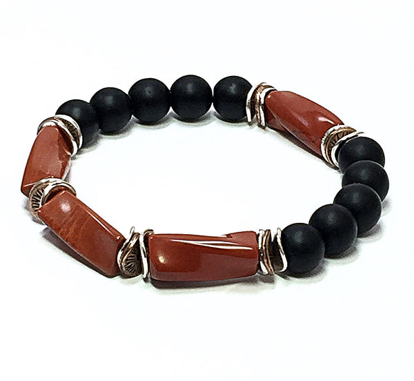Red Jasper Bracelet, Men's Stretch Bracelet, Beaded Bracelet, Black Onyx Bracelet