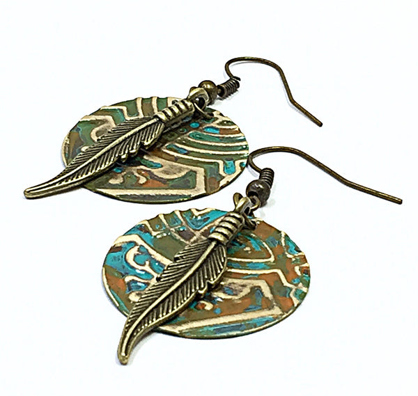 Patina Earrings, Southwestern Earrings, Rustic Bohemian Earring, Ethnic Earrings