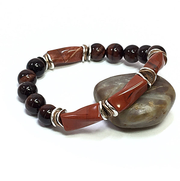 Men's Beaded Bracelet, Jewelry for Him, Tigers Eye Bracelet, Red Jasper Bracelet, Jewelry for Men