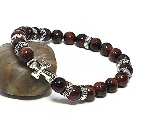 Cross Bracelet, Men's Stretch Bracelet, Religious Gifts, Tigers Eye Bracelet