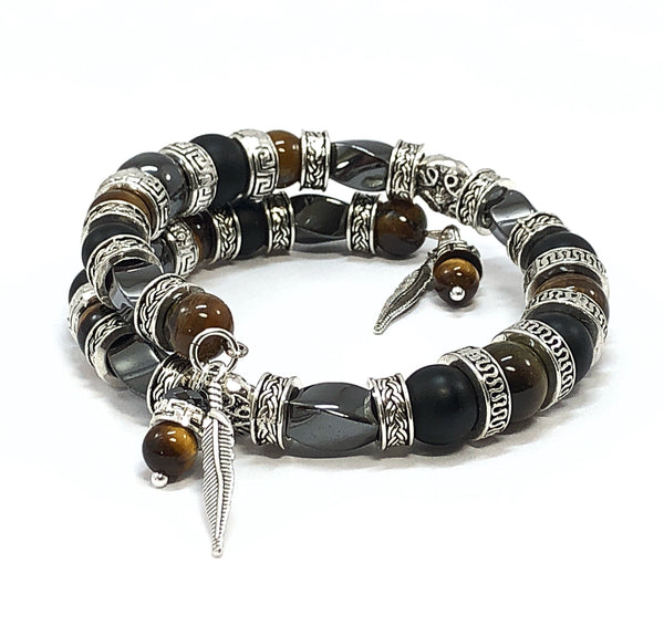 Men's Bangle Bracelet, Feather Bracelet, Tiger's Eye Bracelet, Men's Beaded Bracelet