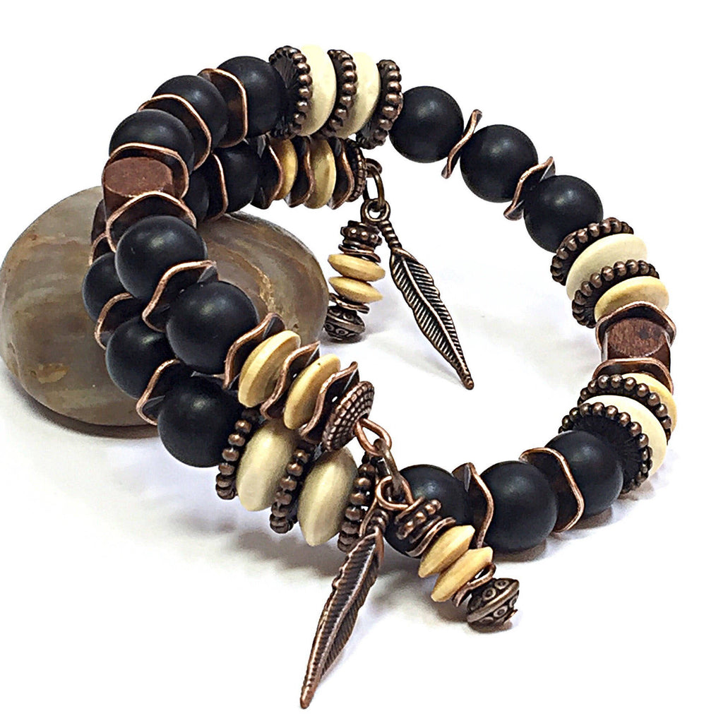Black Onyx Bracelet, Unisex Jewelry, Men's Beaded Bracelet, Men's Wood Bracelet