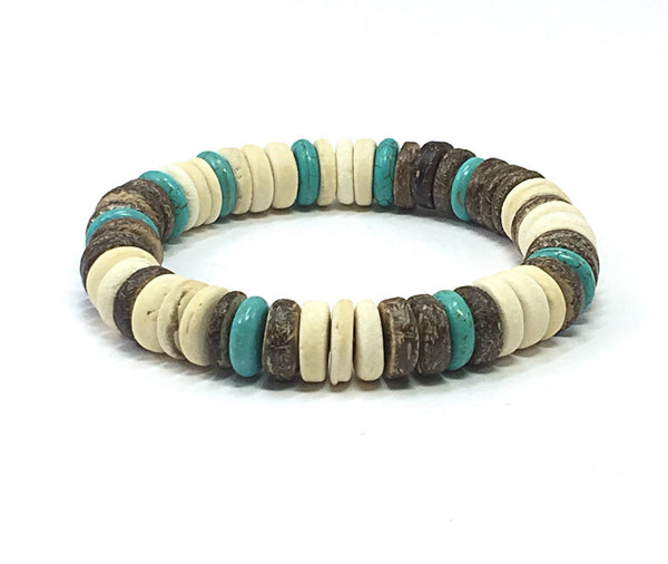 Men's Beaded Bracelet, Men's Stretch Bracelet, Coconut Wood, Turquoise Bracelet