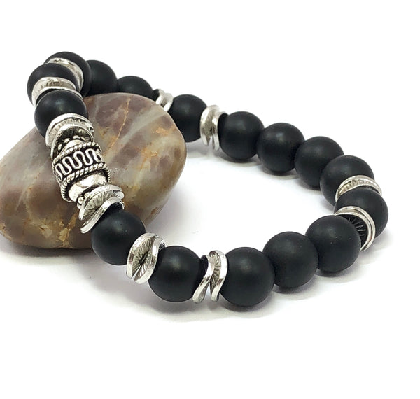 Gemstone Bracelet, Men's Bracelet, Black Onyx and Sterling Silver, Men's Beaded Bracelet