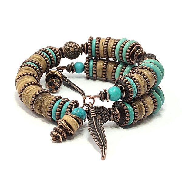 Men's Bracelet, Turquoise Bangle, Unisex Bracelet, Feather Jewelry, Turquoise & Copper Bracelet