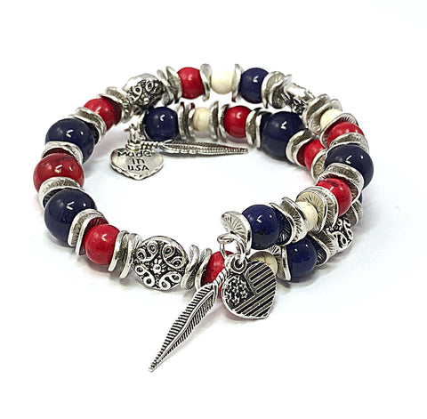 Patriotic Bracelet, Independence Day, Red White & Blue Bracelet, 4th of July Bracelet