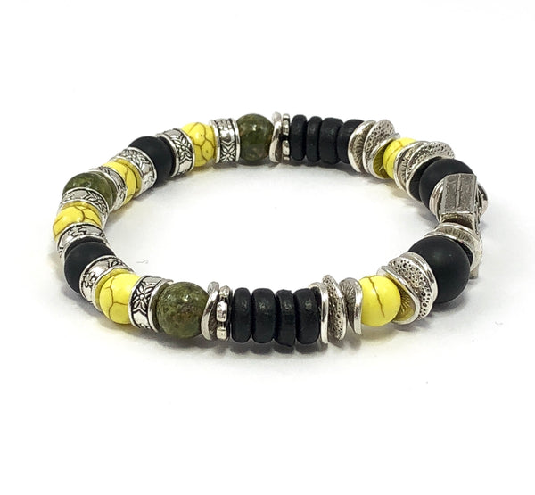 Jewelry for Men, Jamaican Bracelet, Men's Beaded Bracelet, Stretch Bracelet for Him