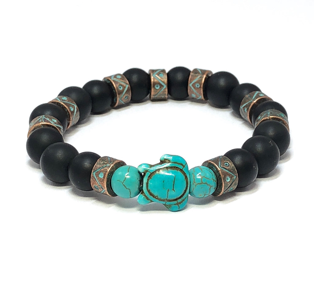 Turquoise Turtle Bracelet, Beaded Stretch Bracelet, Men's Beaded Bracelet, Black Onyx Jewelry