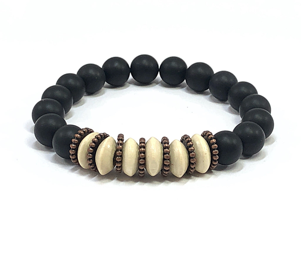 Men's Beaded Bracelet, Black & Beige Bracelet, Beaded Stretch Bracelet, Men's Stretch Bracelet