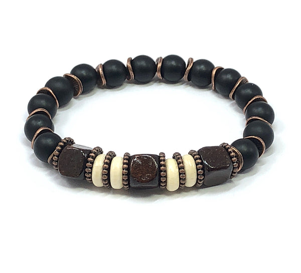 Men's Beaded Bracelet, Men's Stretch Bracelet, Men's Jewelry, Black Onyx Bracelet
